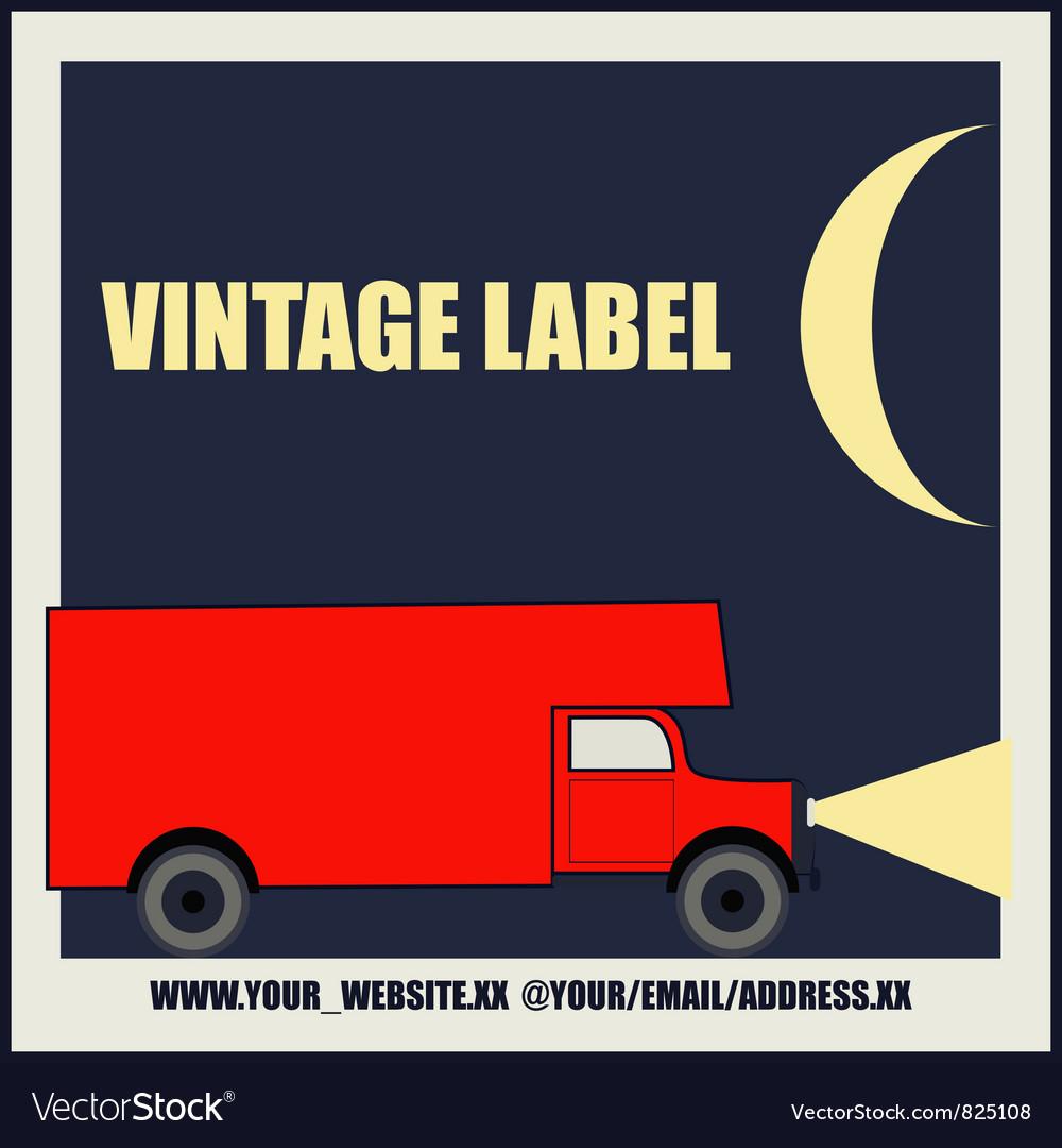 Overnight delivery van vintage label vector   Price: 1 Credit (USD $1)
