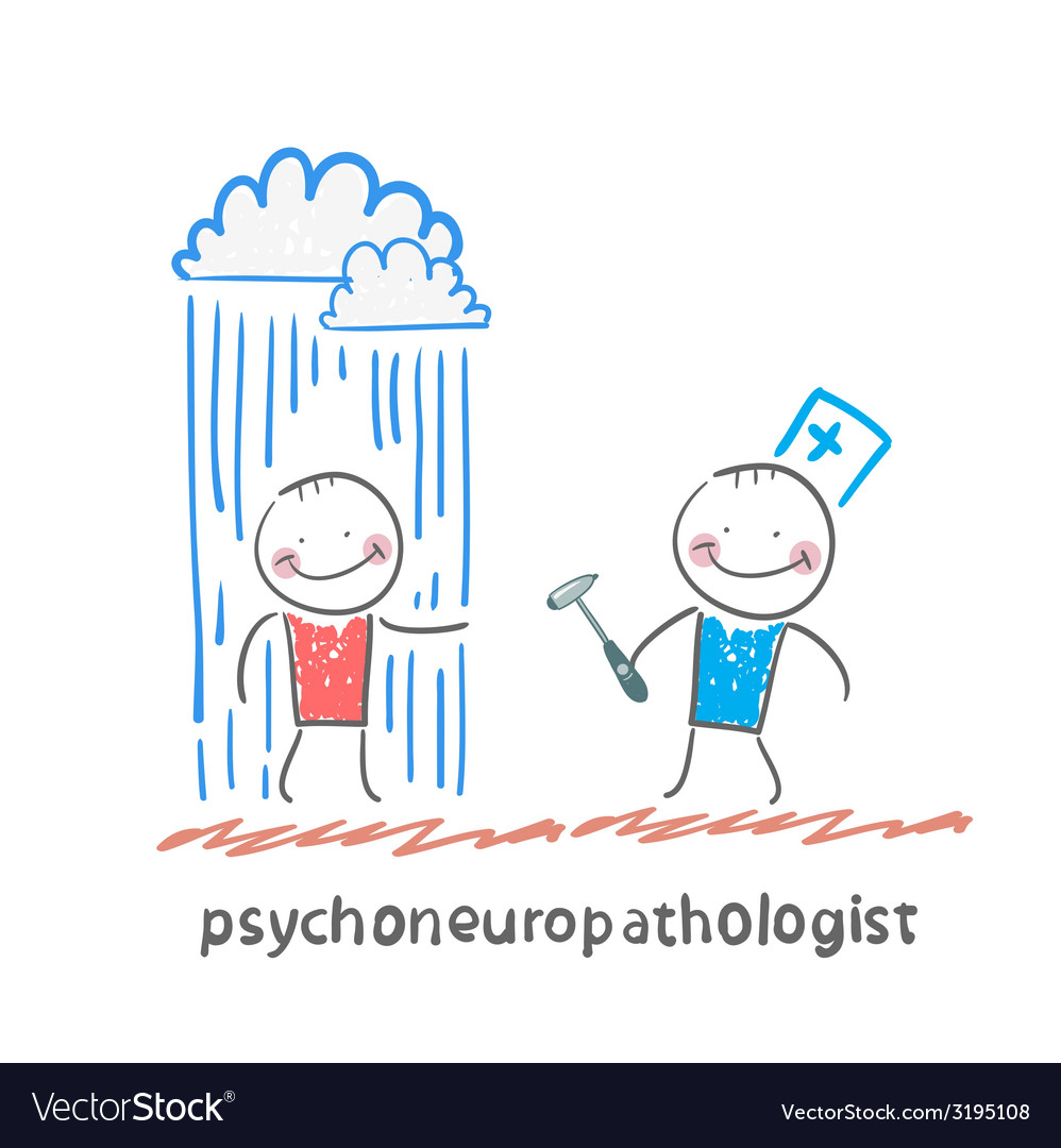 Psychoneuropathologist stands next to a nervous vector | Price: 1 Credit (USD $1)