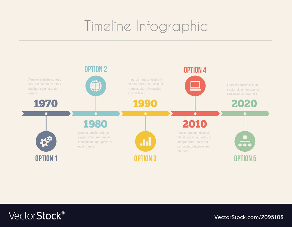 Retro timeline infographic vector | Price: 1 Credit (USD $1)