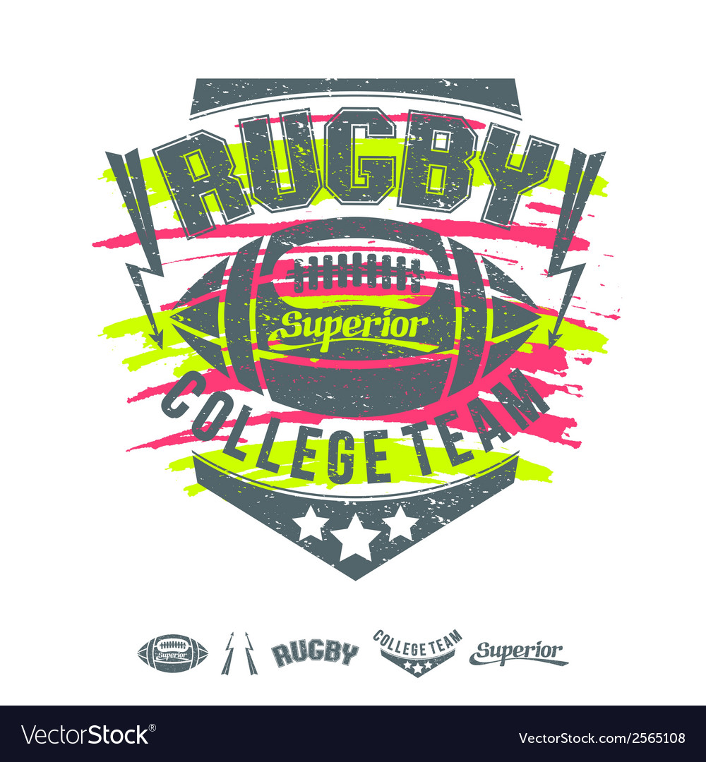 Rugby emblem girls print and design elements vector | Price: 1 Credit (USD $1)