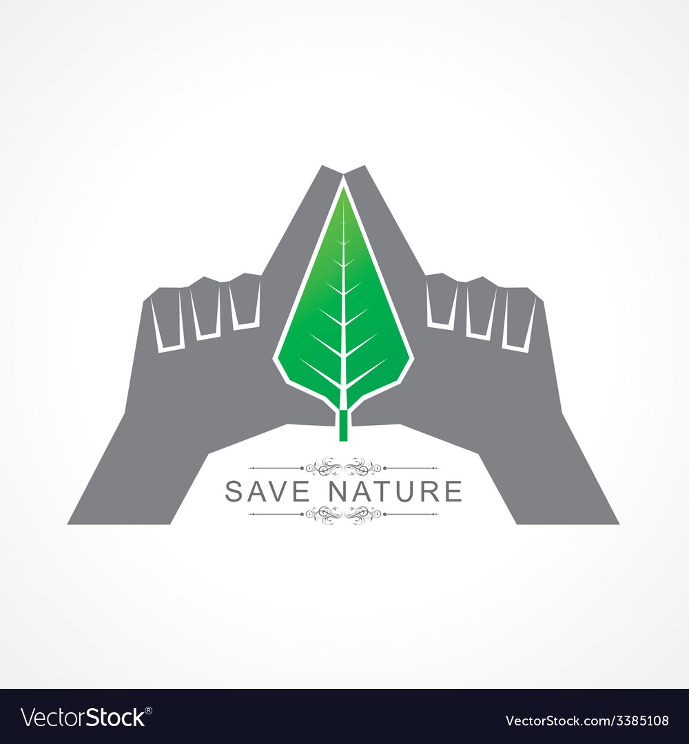 Save nature concept with leaf vector | Price: 1 Credit (USD $1)