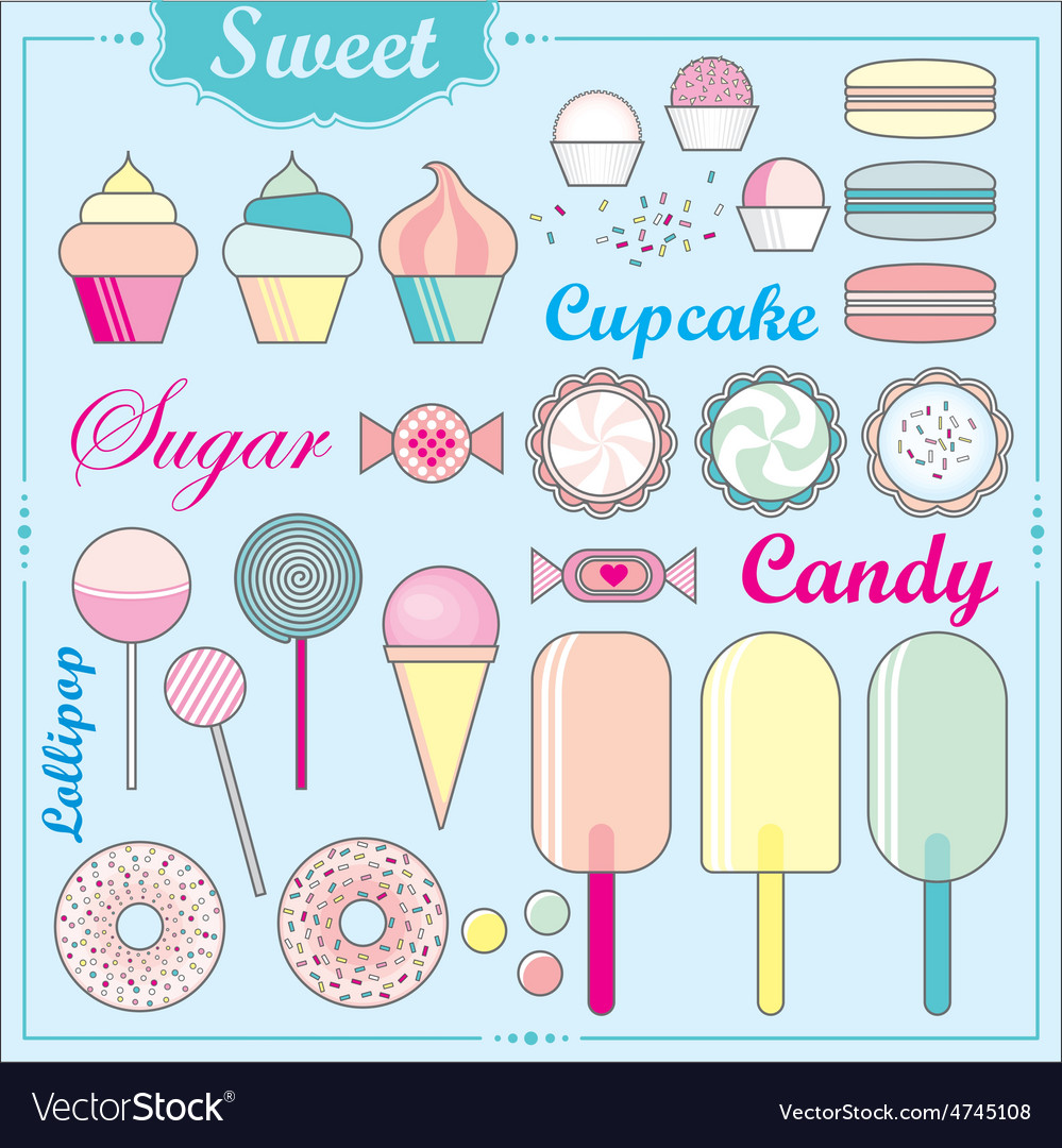 Set of sweets and candies vector | Price: 1 Credit (USD $1)