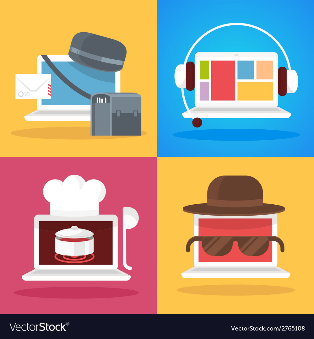 Set of white laptop profession vector | Price: 1 Credit (USD $1)