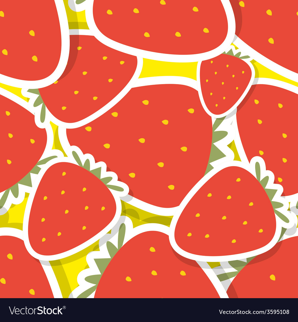 Strawberry pattern seamless texture with ripe red vector   Price: 1 Credit (USD $1)