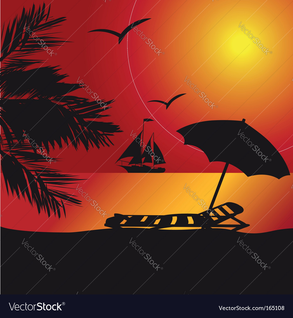 Sunset at the seaside vector | Price: 1 Credit (USD $1)