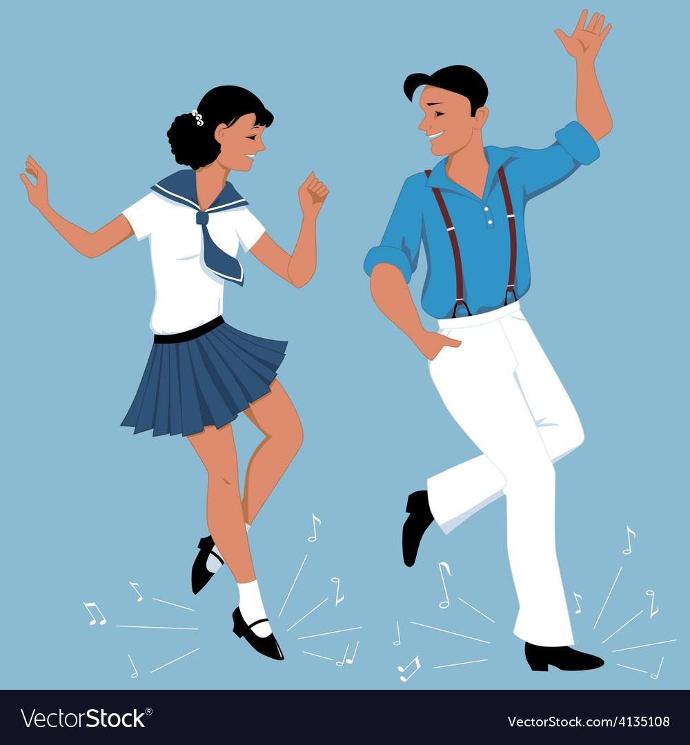 Tap dancing couple vector | Price: 1 Credit (USD $1)