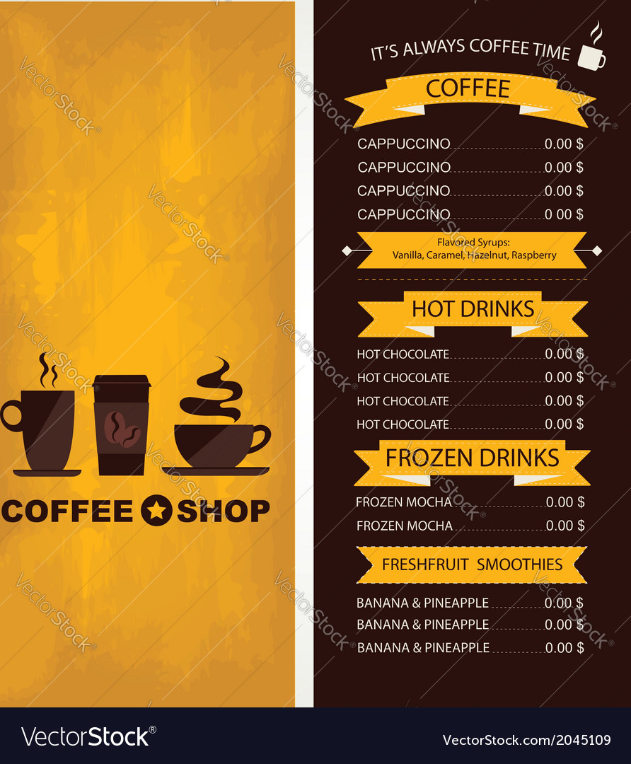 Coffee house menu restaurant template design vector | Price: 1 Credit (USD $1)