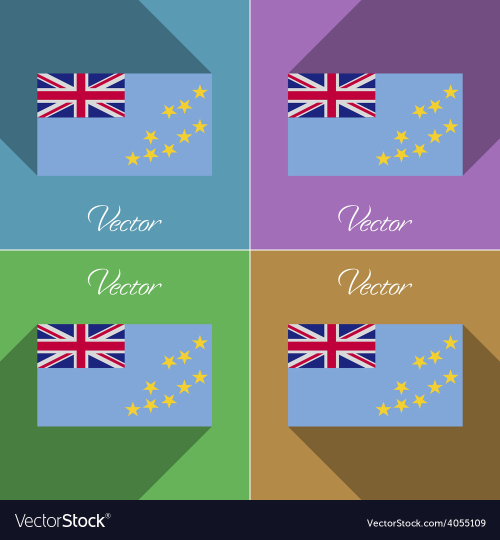 Flags tuvalu set of colors flat design and long vector | Price: 1 Credit (USD $1)