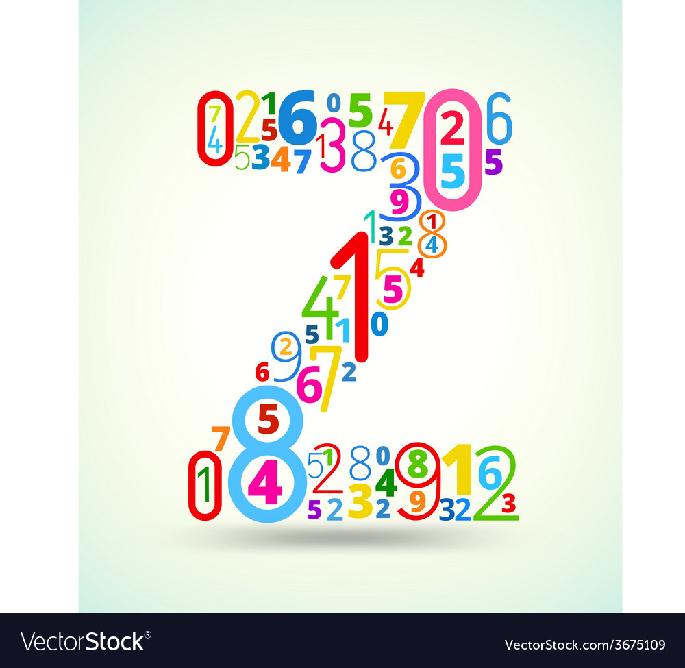 Letter z colored font from numbers vector | Price: 1 Credit (USD $1)