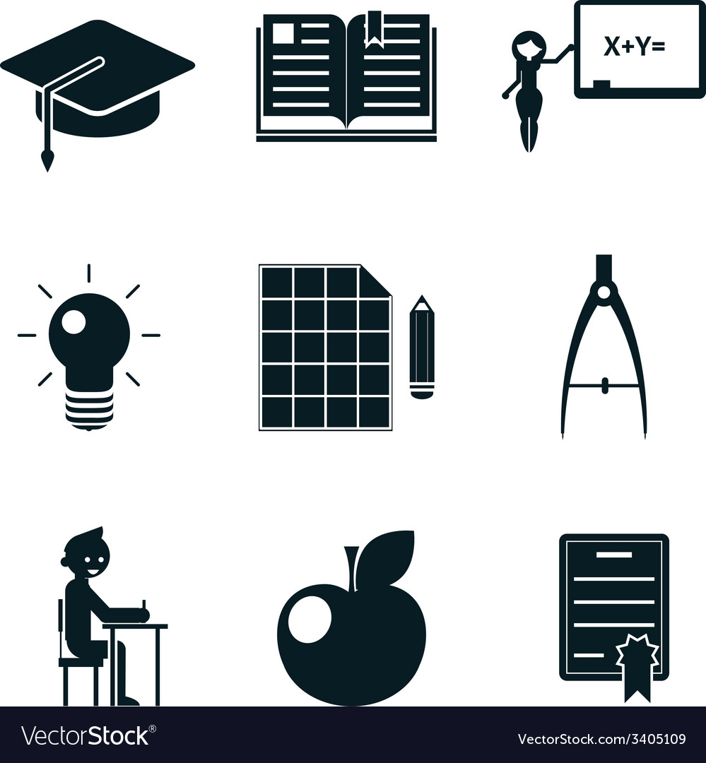 School icons isolated vector | Price: 1 Credit (USD $1)