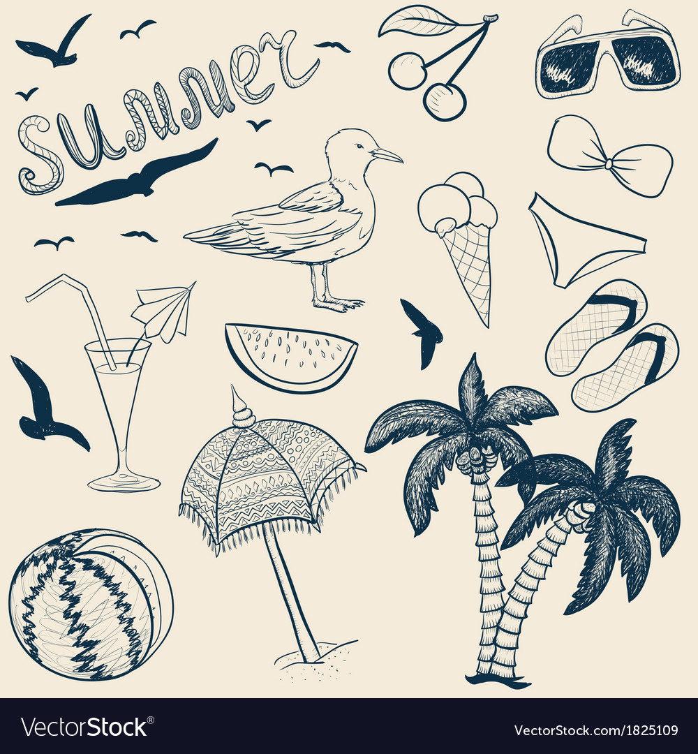 Sketch summer objects vector | Price: 1 Credit (USD $1)