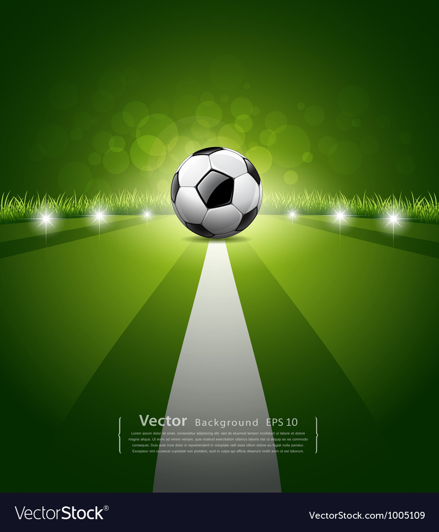 Soccer ball on green grass background vector | Price: 1 Credit (USD $1)
