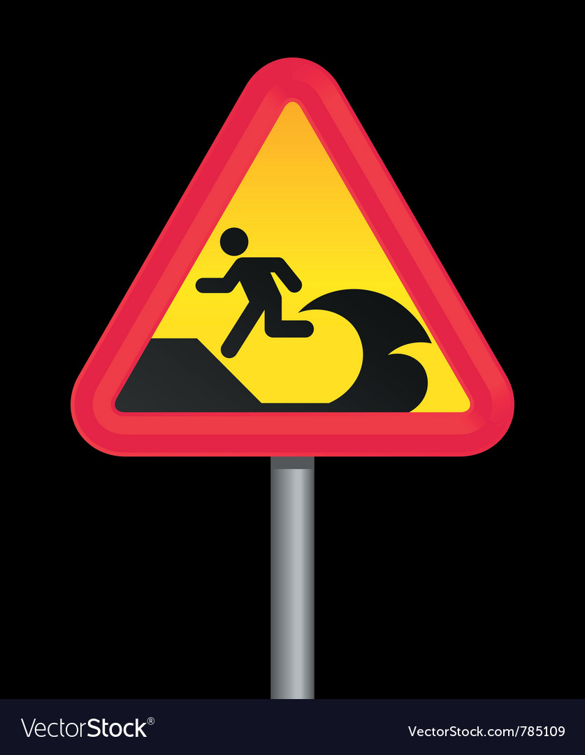 Tsunami warning sign vector | Price: 1 Credit (USD $1)