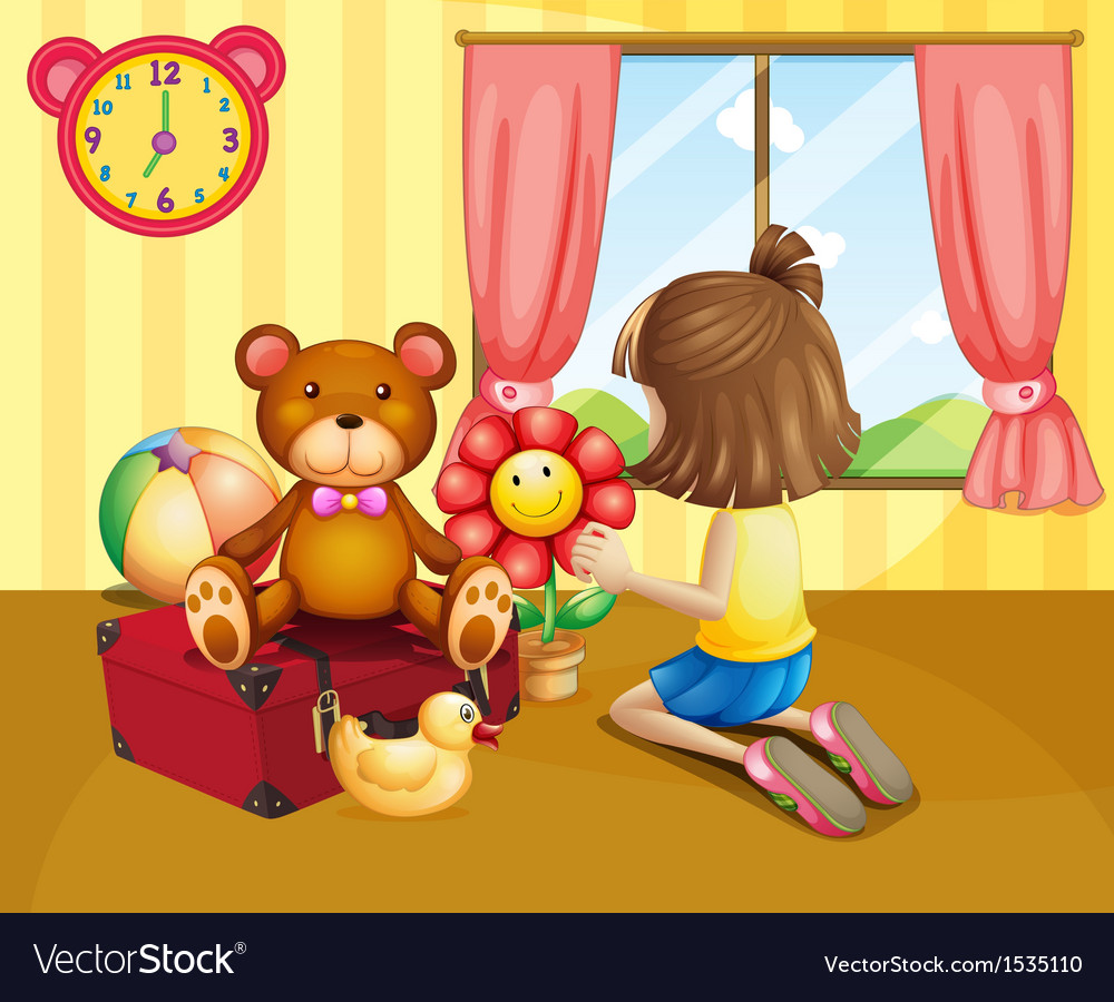 A child arranging her toys inside the house vector | Price: 1 Credit (USD $1)