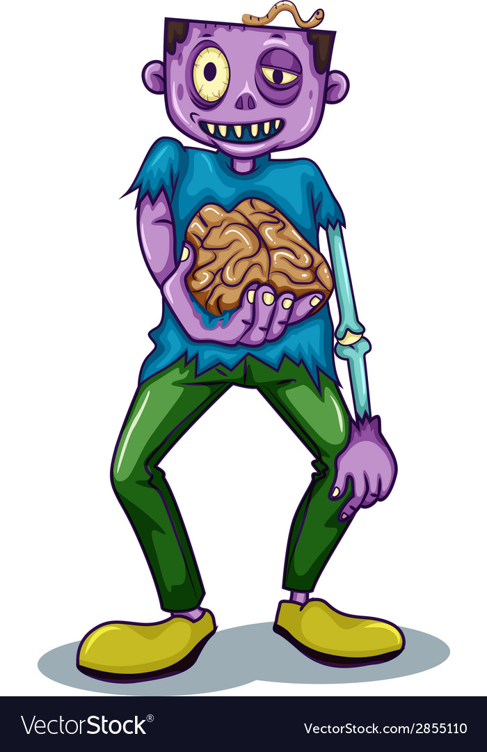 A zombie holding his brain vector | Price: 1 Credit (USD $1)