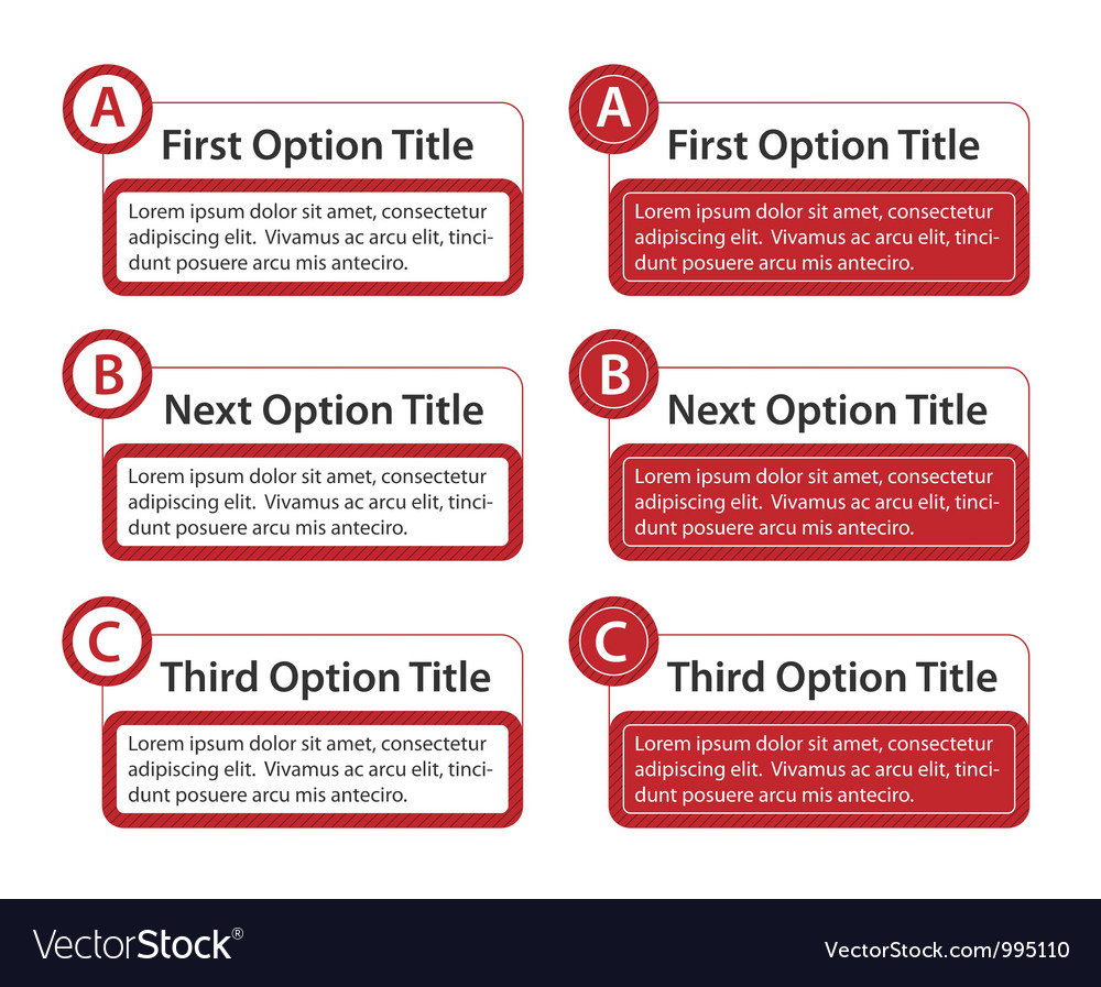 Abc option boxes with version descriptions vector | Price: 1 Credit (USD $1)