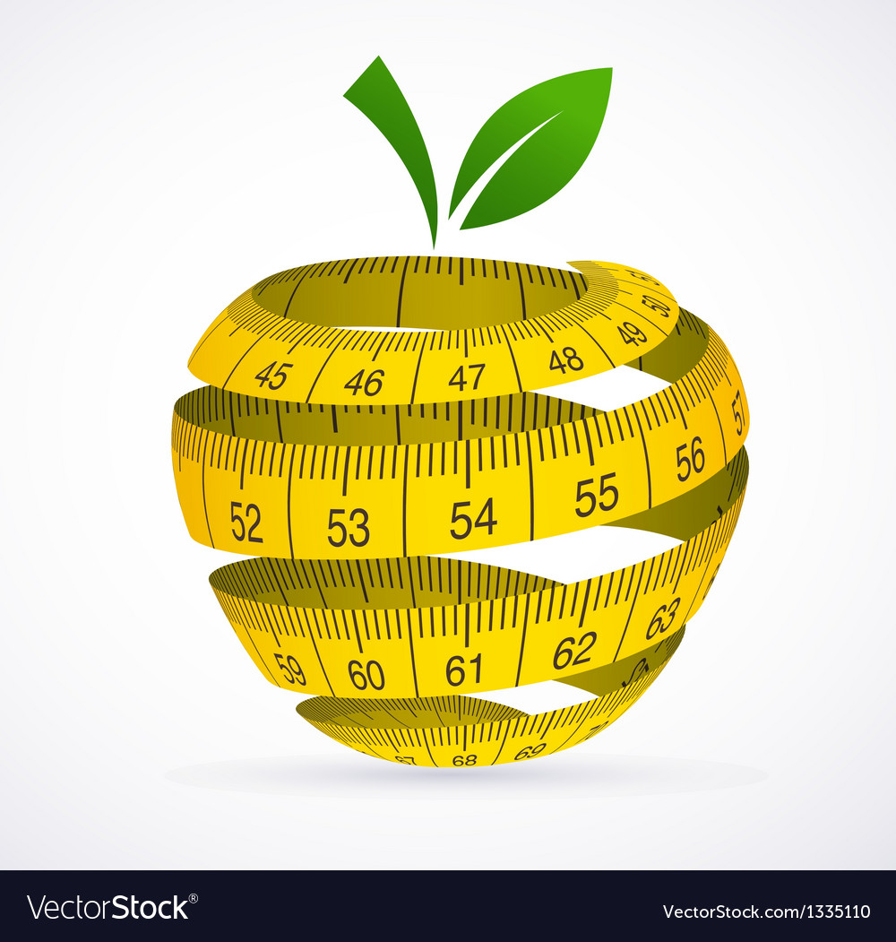 Apple and measuring tape diet symbol vector