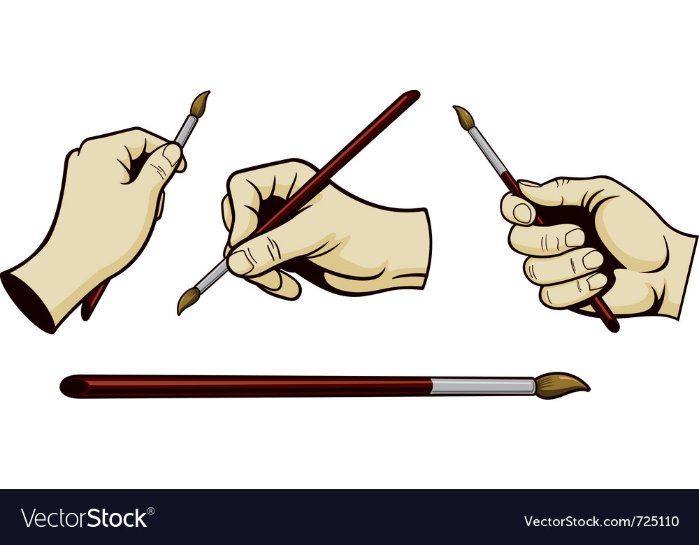 Artist hands with paint brush vector | Price: 1 Credit (USD $1)