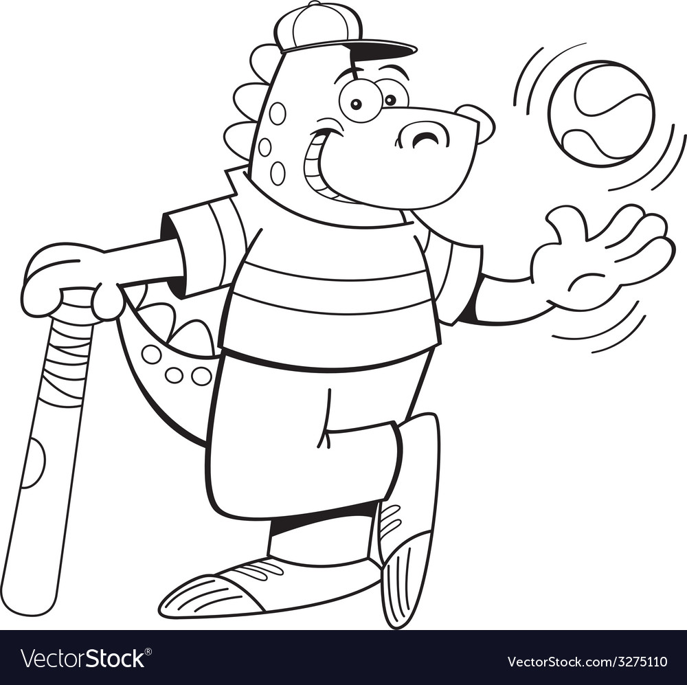 Cartoon dinosaur with a baseball and bat vector | Price: 1 Credit (USD $1)