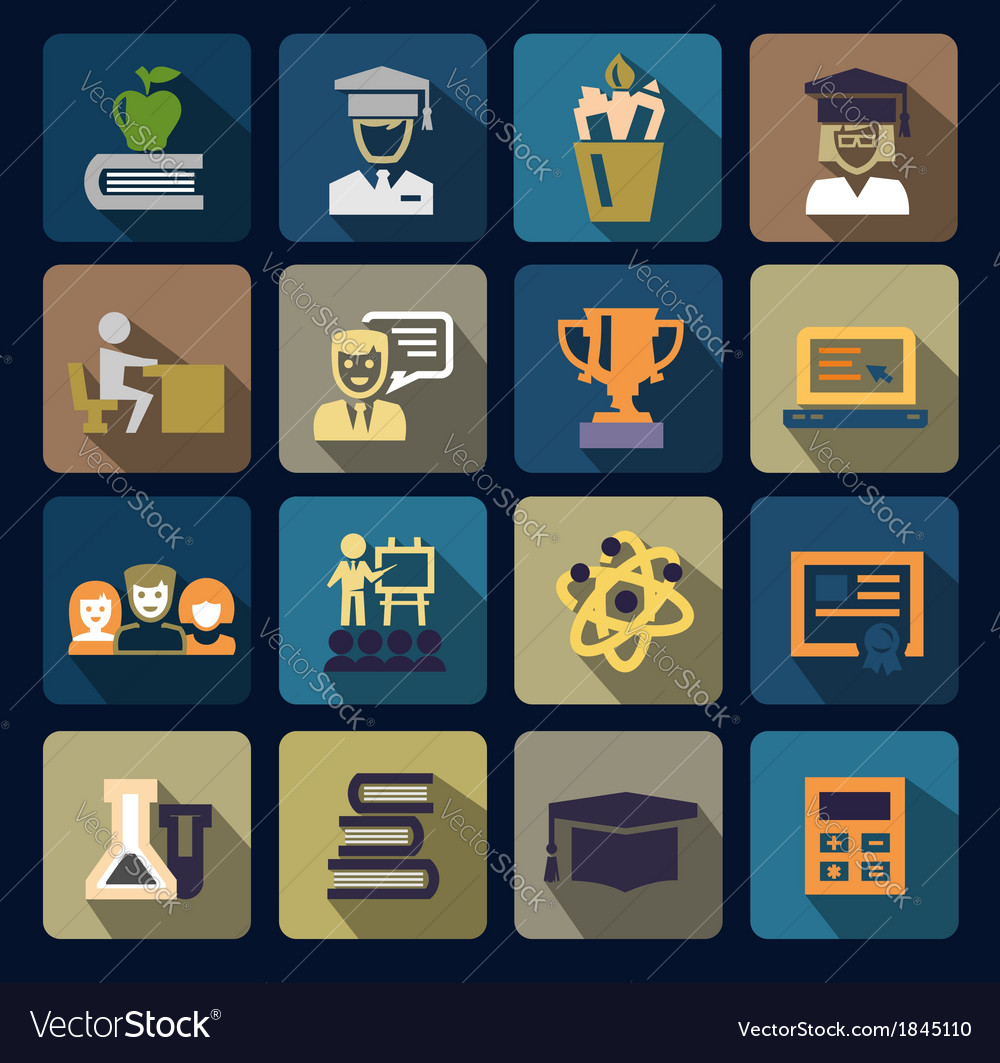 Color school and education icons set vector | Price: 1 Credit (USD $1)