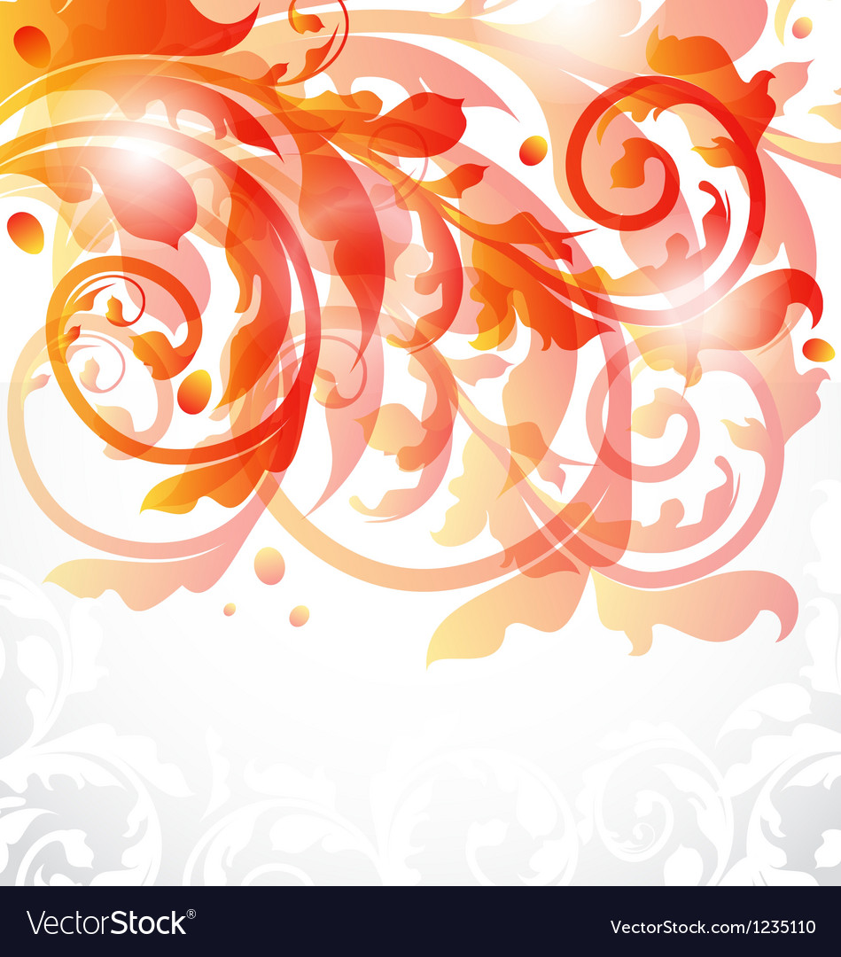 Floral ornamental card autumn background vector | Price: 1 Credit (USD $1)