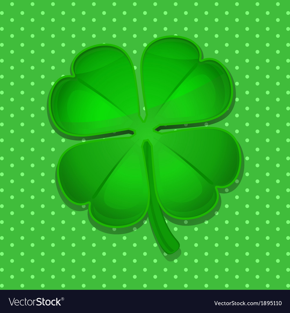 Four leaf clover on green polka dot background vector | Price: 1 Credit (USD $1)