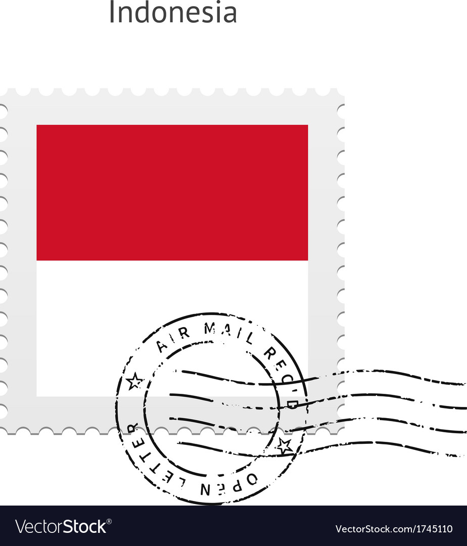 Indonesia flag postage stamp vector | Price: 1 Credit (USD $1)