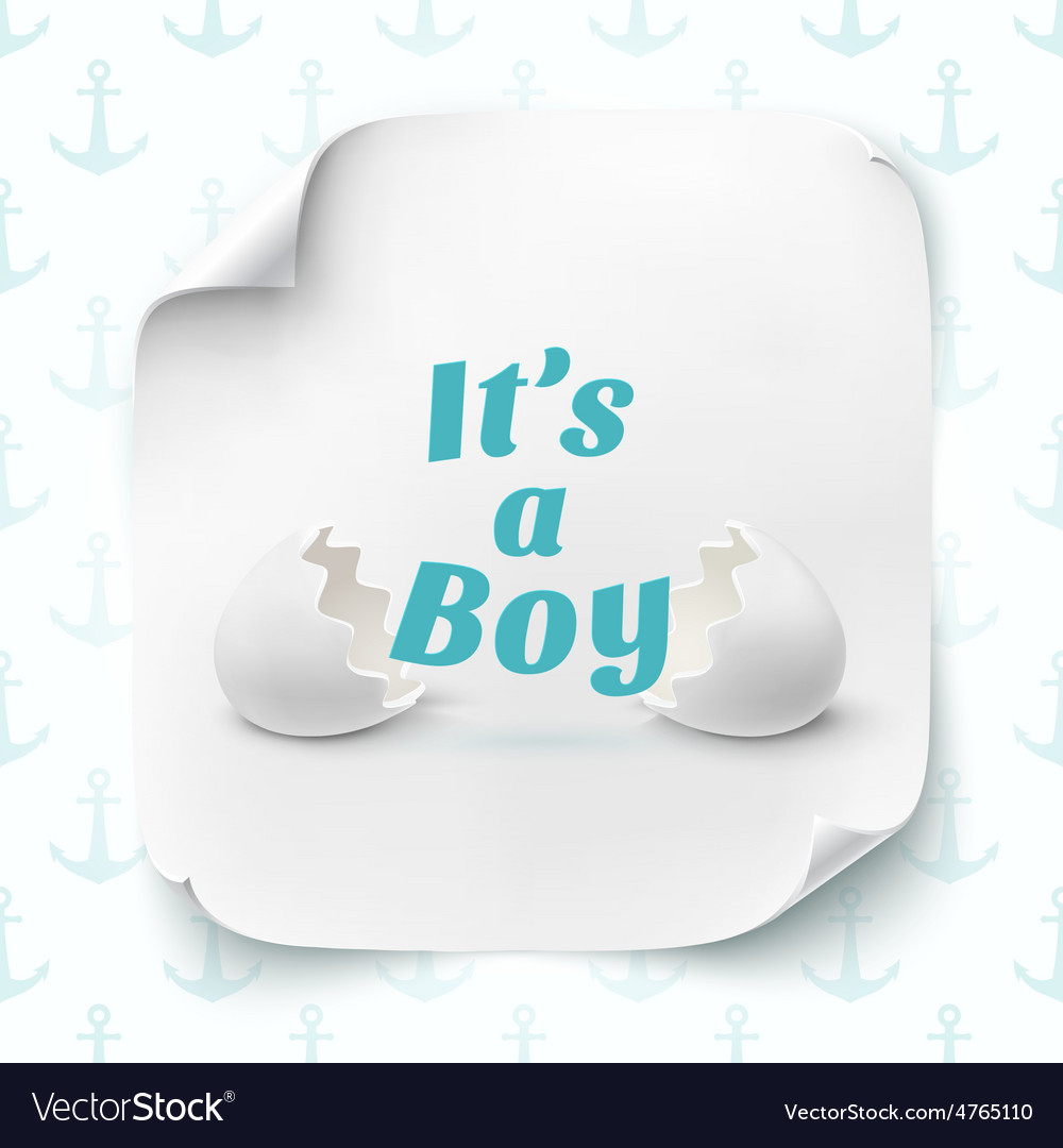 Its a boy template for baby shower celebration vector | Price: 3 Credit (USD $3)