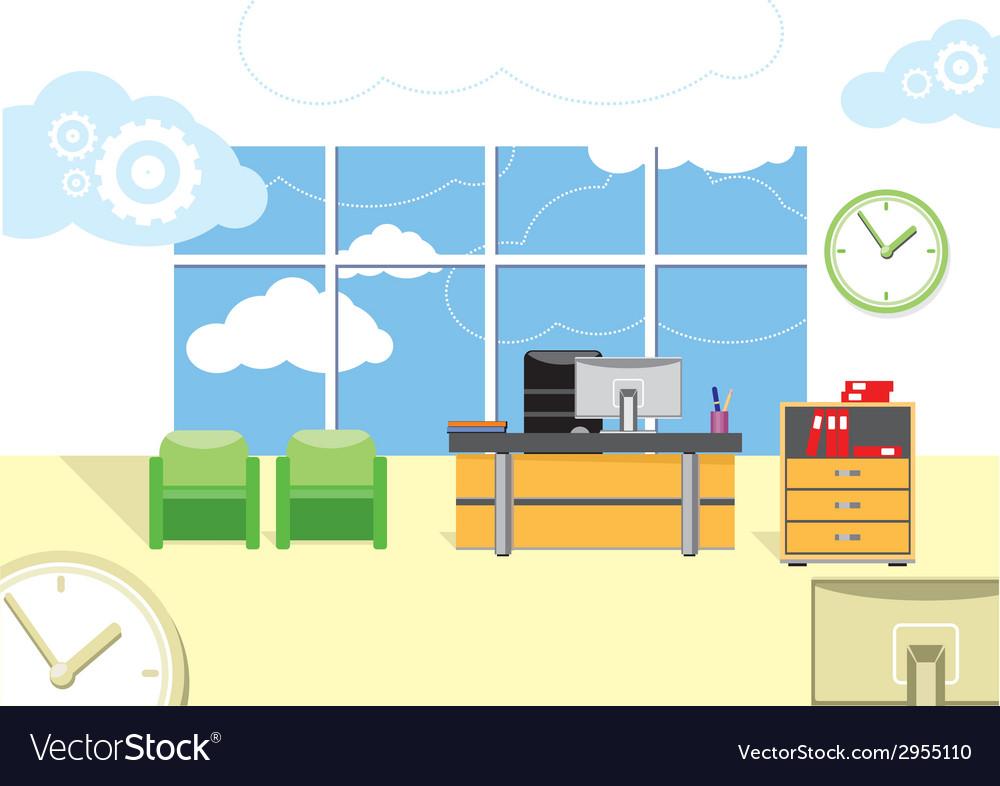 Modern office interior with designer desktop vector | Price: 1 Credit (USD $1)