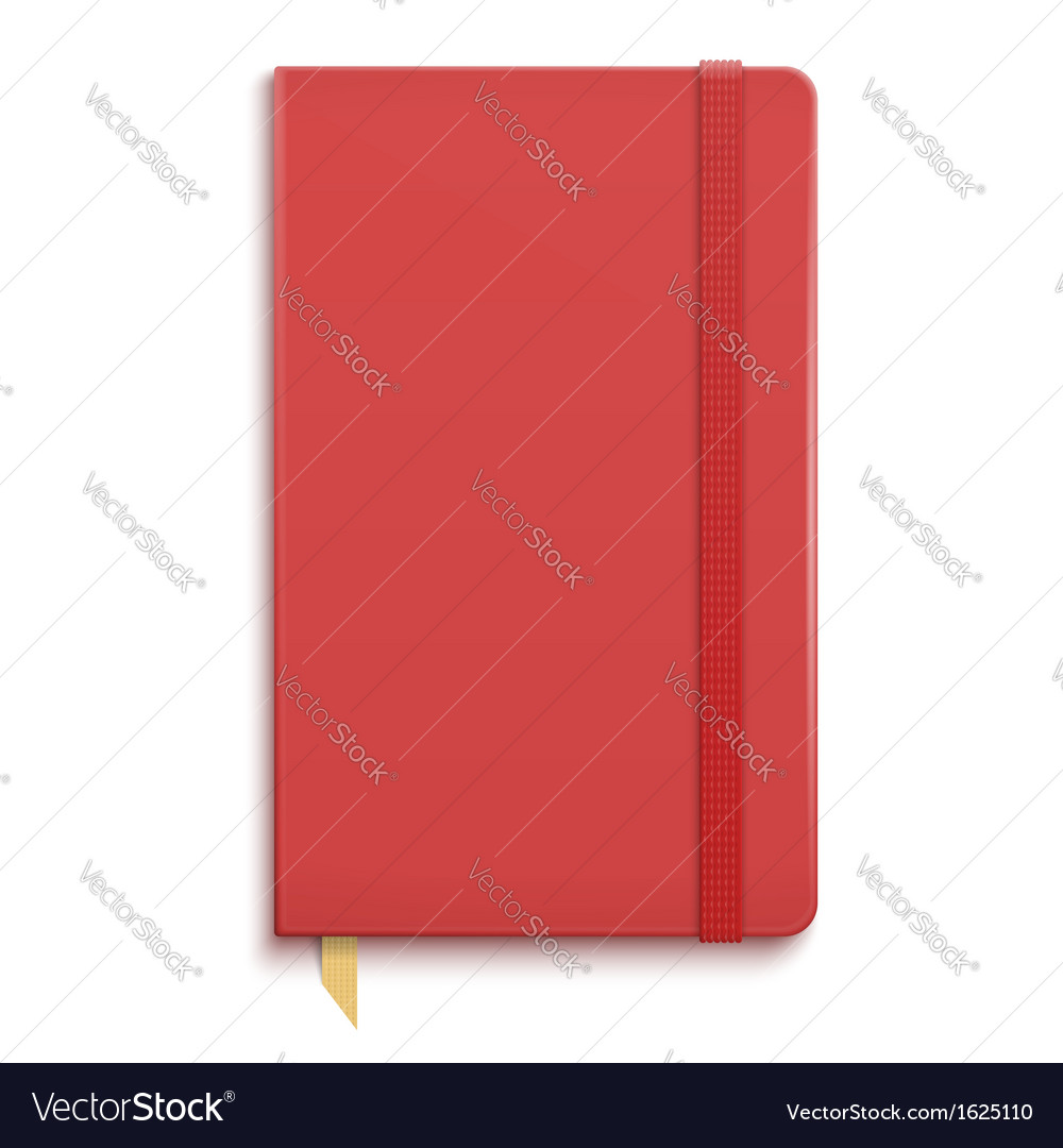 Red copybook with elastic band vector | Price: 1 Credit (USD $1)