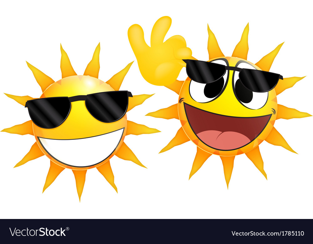 Smiling sun emoticon holding a glasses vector | Price: 1 Credit (USD $1)