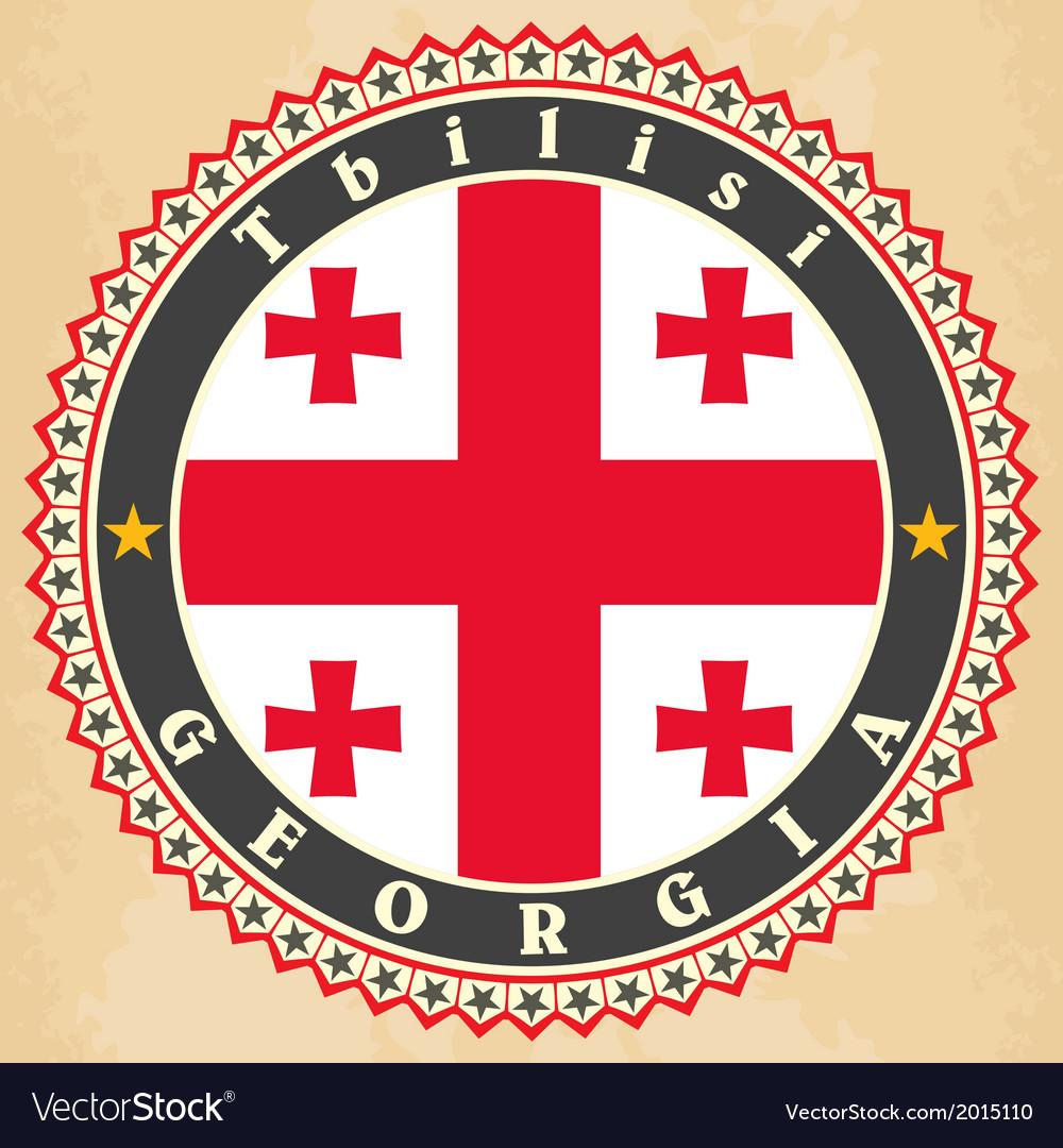 Vintage label cards of georgia flag vector | Price: 1 Credit (USD $1)