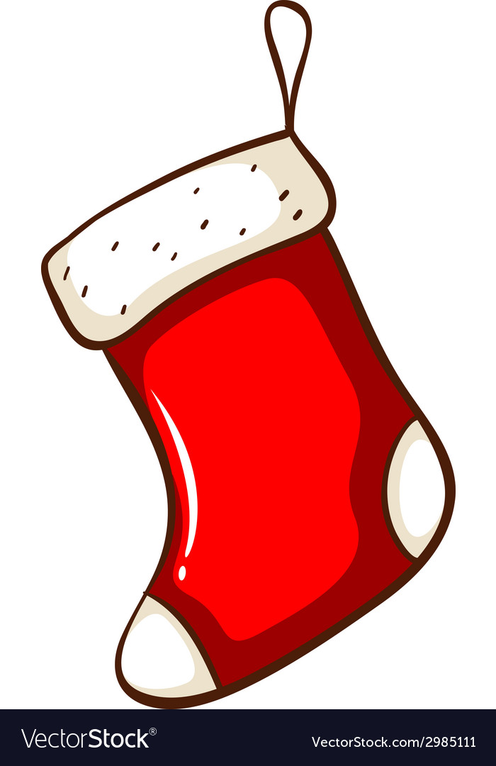 A simple drawing of a red christmas stocking vector | Price: 1 Credit (USD $1)