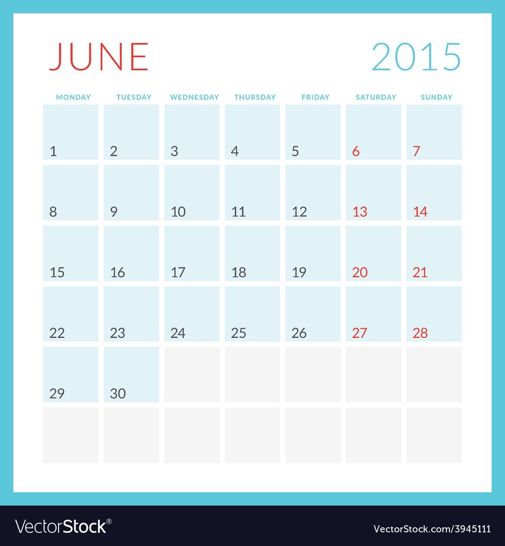 Calendar 2015 flat design template june week vector | Price: 1 Credit (USD $1)