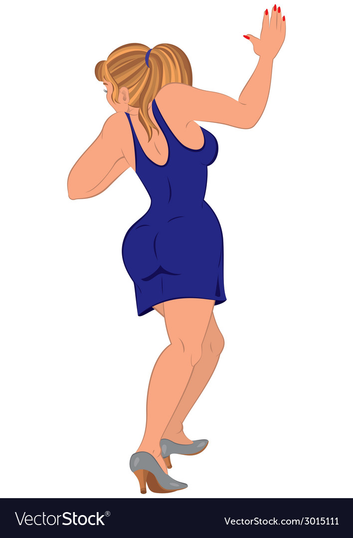 Cartoon woman in blue dress walking up back view vector | Price: 1 Credit (USD $1)