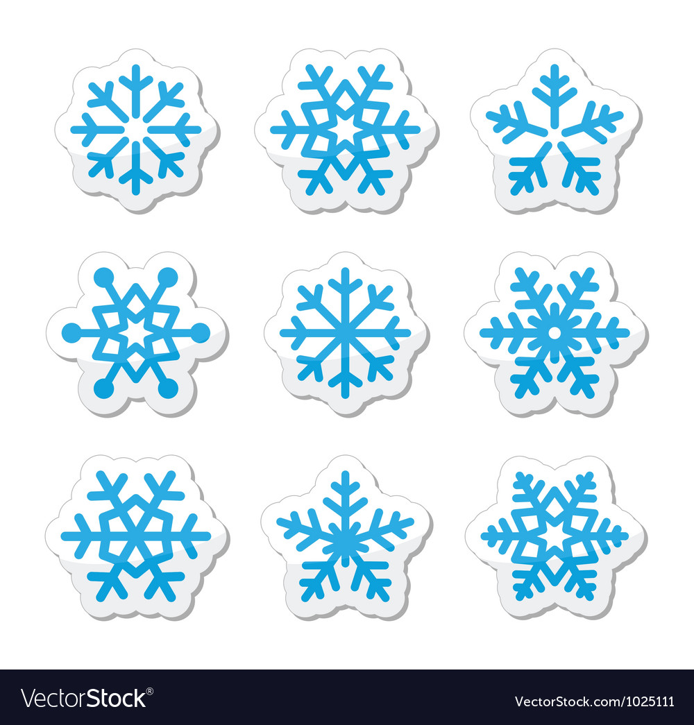 Christmas snowflakes icons set vector | Price: 1 Credit (USD $1)