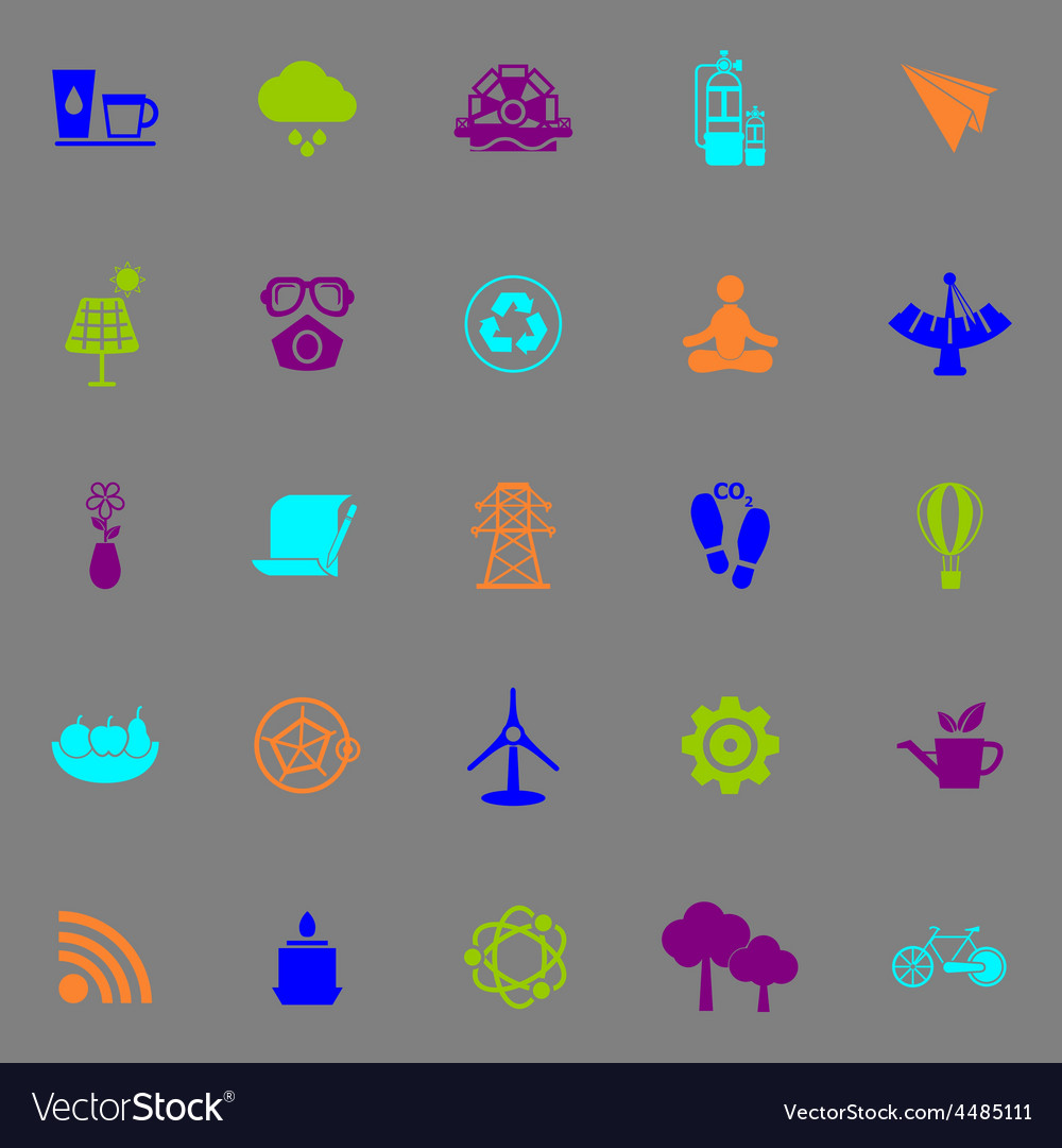 Clean concept icons fluorescent color on gray vector | Price: 1 Credit (USD $1)