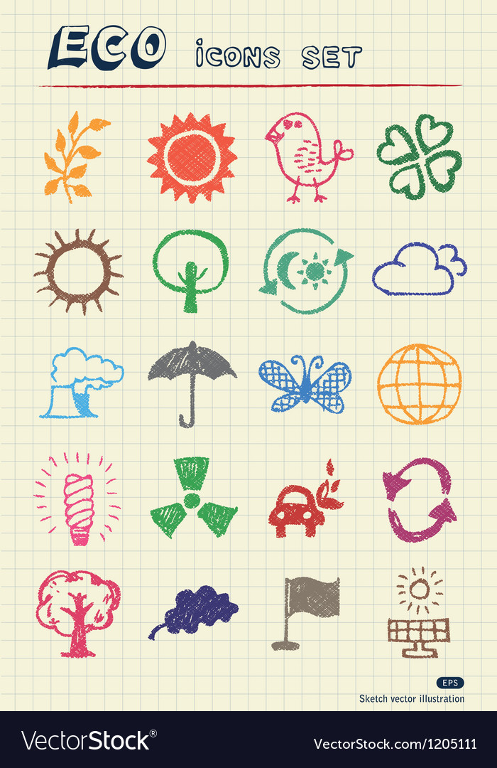 Ecology and environment web icons set vector | Price: 1 Credit (USD $1)