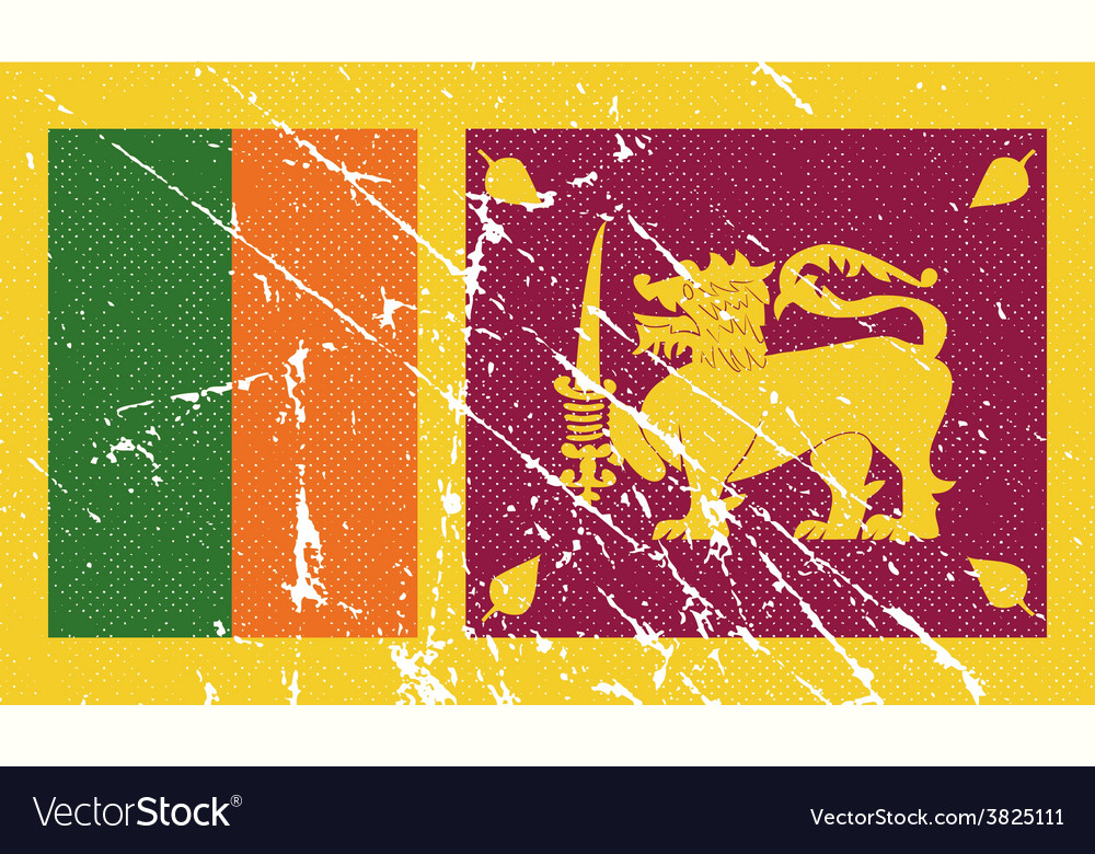 Flag of sri lanka with old texture vector | Price: 1 Credit (USD $1)