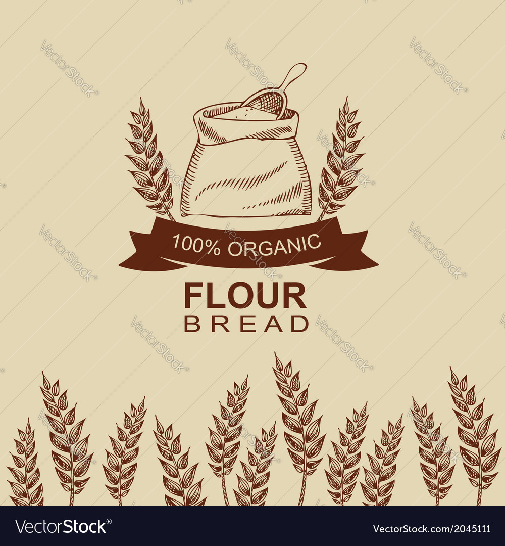 Flour bread label design bakery retro vector | Price: 1 Credit (USD $1)
