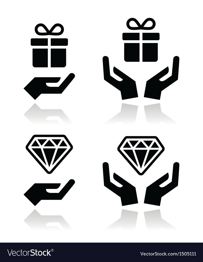 Hands with present and diamond icons set vector | Price: 1 Credit (USD $1)