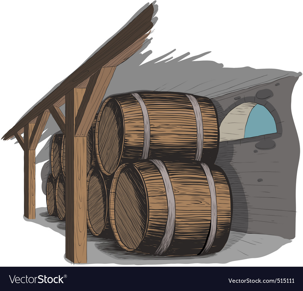 Old wine cellar with rows of barrels vector | Price: 1 Credit (USD $1)