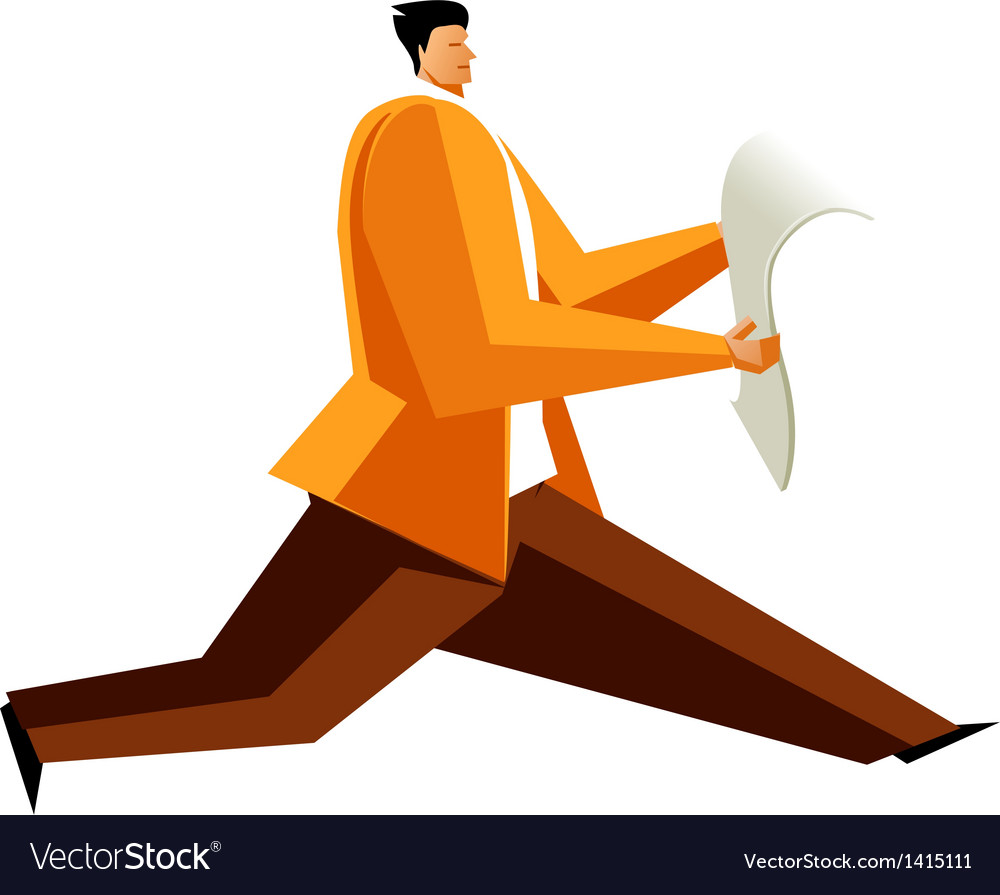 Side view of man running with newspaper vector | Price: 1 Credit (USD $1)