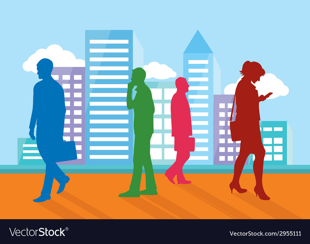 Silhouettes of people going about their business vector | Price: 1 Credit (USD $1)