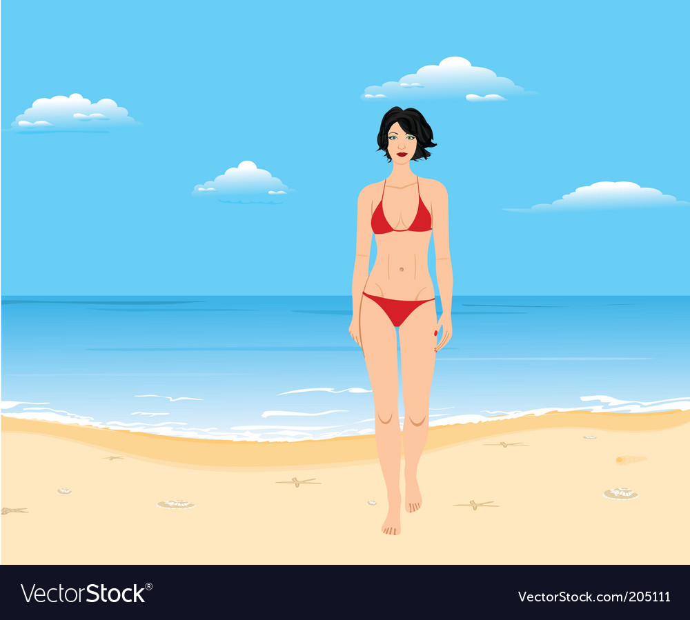 Summer beach girl vector | Price: 3 Credit (USD $3)