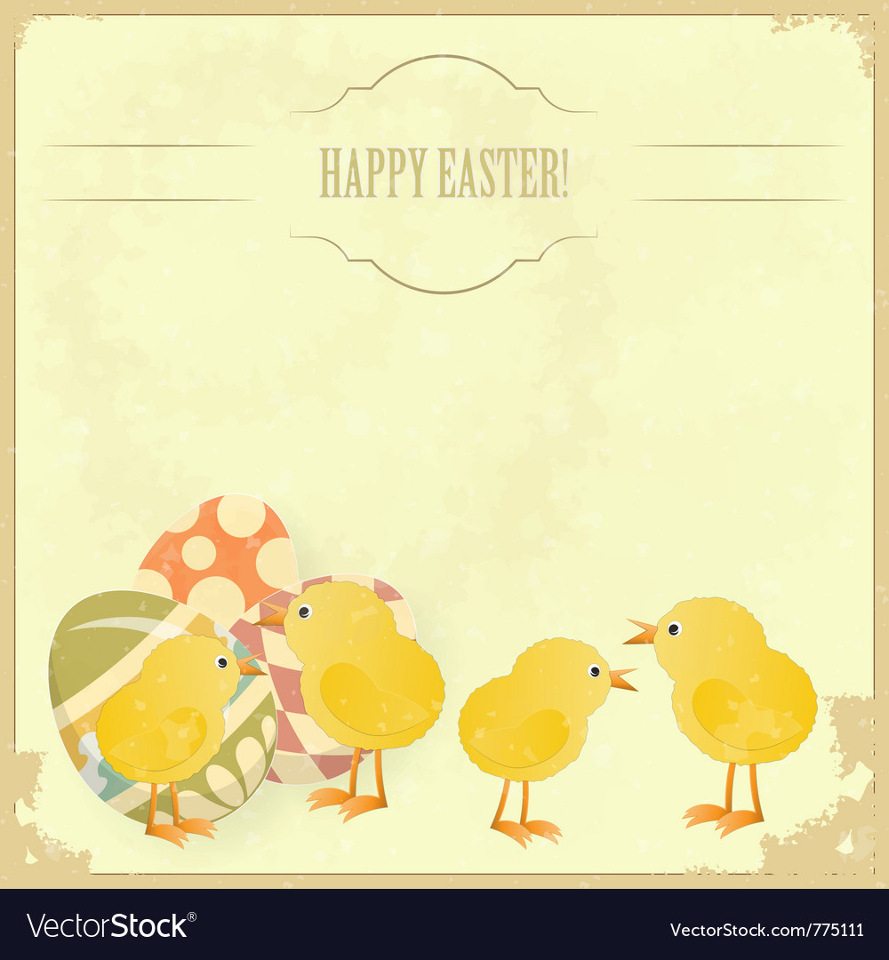 Vintage easter greeting card vector | Price: 1 Credit (USD $1)