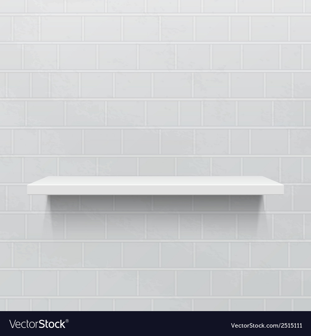 White realistic shelf against brick wall vector | Price: 1 Credit (USD $1)