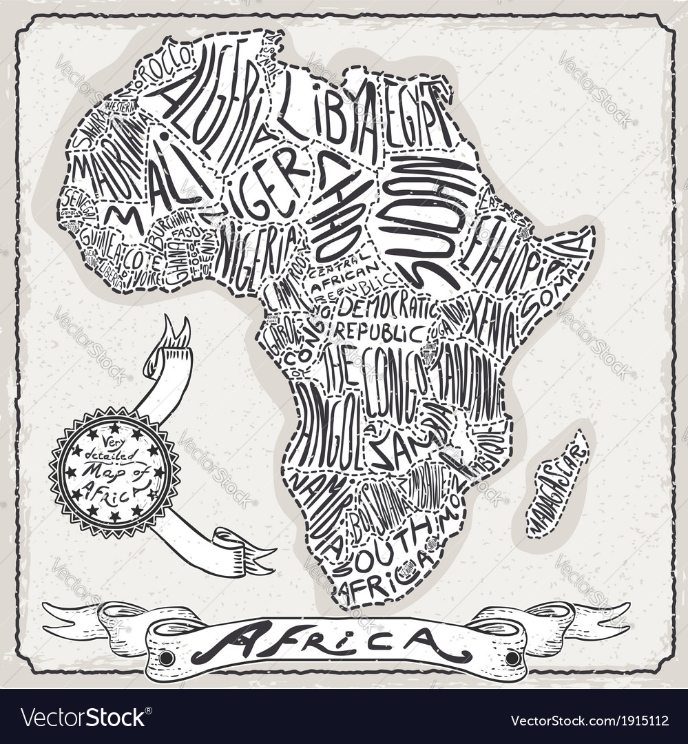 Africa map on vintage handwriting page vector | Price: 1 Credit (USD $1)
