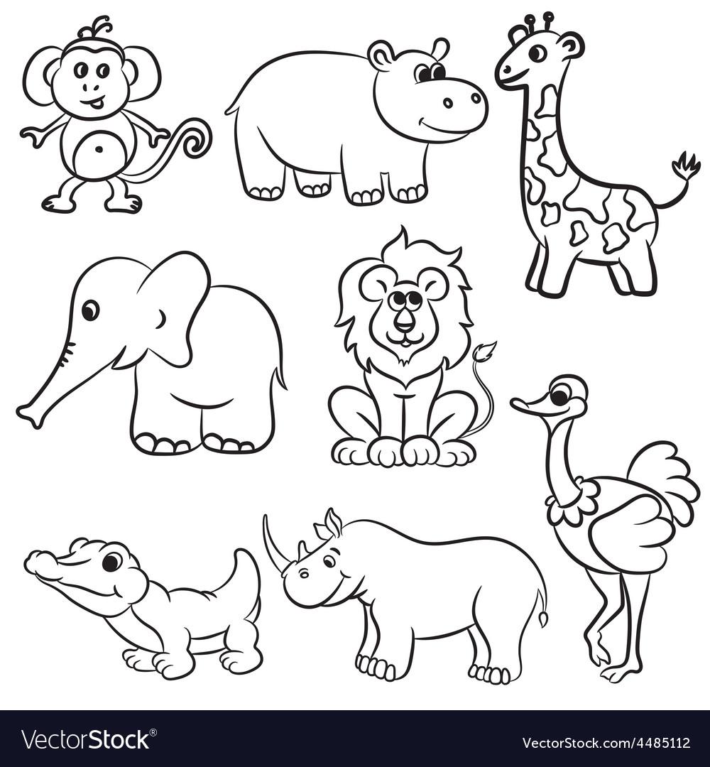 Animals set 8 outlined vector