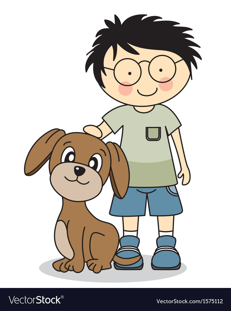 Boy with his dog vector | Price: 1 Credit (USD $1)